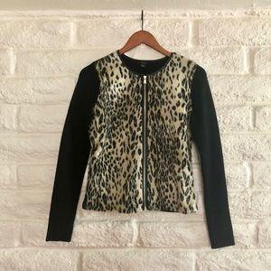 NWOT Ann Taylor Cheetah Print Zip Sweater